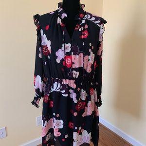 Ann Taylor Black Floral Ruffle Shoulder Dress - L